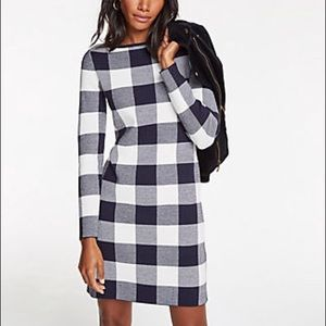 Ann Taylor buffalo plaid sweater dress